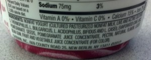 Picture of ingredients list in Chobani Pomegranate flavored Greek Yogurt