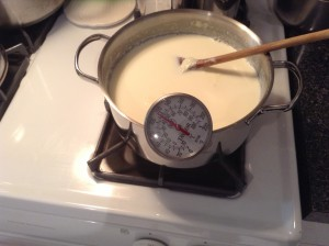 Wait for the milk to cool to just over 115 degrees Fahrenheit