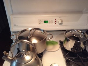 Setting the oven timer...