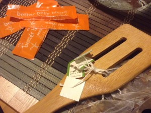 Wooden Spoon with Tea Bags tied to it